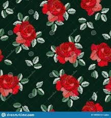 Spanish Fabric Designs Embroidery Seamless Pattern In Spanish Style With Red Rose