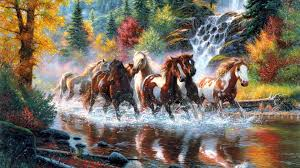 artistic tag keathley fall waterfall mark landscapes paintings trees rivers colors autumn art forest horses