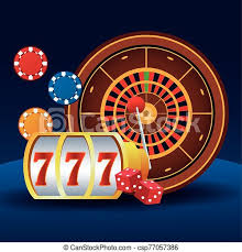 Slot machine roulette chips and dices betting game gambling casino vector illustration. | CanStock