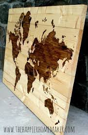 save on reclaimed wood world map wall art with diy wooden world map art the happier homemaker