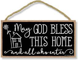 Create a home that is both welcoming and beautiful! Amazon Com Honey Dew Gifts May God Bless This House And All Who Enter 5 Inch By 10 Inch Hanging Wall Art Decorative Wood Sign Home Decor Home Kitchen