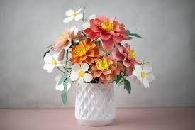 Paper Flower Bouquet In Vase Summer Paper Flower Bouquet