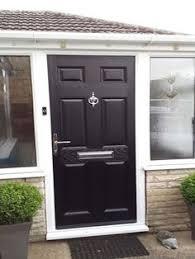 6 panel posite front door in black