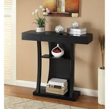 black console table with storage. Black Finish Console Sofa Table With Drawer Storage I