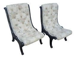 Slipper Chair Tufted Victorian Slipper Chairs A Pair Chairish