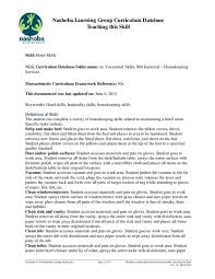 Curriculum Database Document Basic Hotel Housekeeping Skills