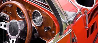closeup of red vintage classic car