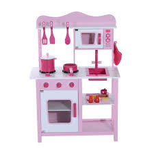 homcom kids pink wooden play kitchen children's role play pretend
