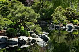 Beautiful Japanese Garden with Small Pond Garden Design Stock Photo -  12787098