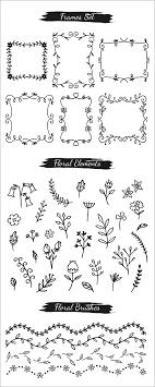 花や草の手描きデザインがかわいい飾り罫花冠リボンアローなどが