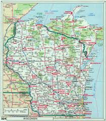 large roads and highways map of wisconsin state with national