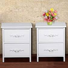 shabby chic nightstand. Popamazing Pair Drawers Shabby Chic French White Wood Bedside Tables Unit Wooden Nightstand Cabinets Storage Throughout