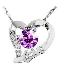 eleganzza purple diamond love heart pendant for girls and women eleganzza purple diamond love heart pendant for girls and women in india on