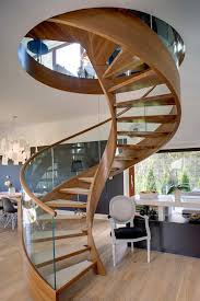 3 contemporary spiral staircase in wood and glass