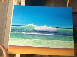 beach wave acrylic painting painting by liam smith