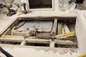 replace a fibergl rotten boat deck