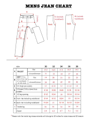 Mens Jeans Chart Mens Jeans Size Chart Bod Jeans Pertaining To Mens Jeans