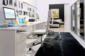 comfortable office. Office:Beauty Home Office Design With Black Plain Carpet And White Comfortable Desk Chair Also