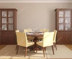 Esszimmer Interieur Mit Runder Tisch Stockfoto