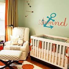 wall decor geckoo image nautical personalized name monogram baby boy or girl wall decal with