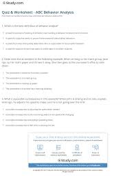 Abc Behaviour Chart Example Quiz Worksheet Abc Behavior Analysis Study Com
