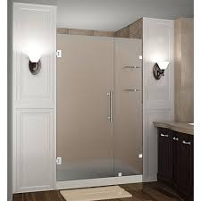 frameless hinged shower door with frosted