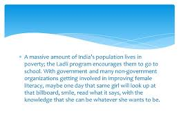 the conclusion is usually one paragraph in length should be  a massive amount of s population lives in poverty the ladli program encourages them