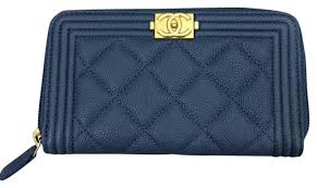 chanel zip wallet. chanel small boy zip around wallet in blue caviar with gold hardware