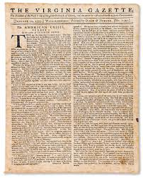 tom paine and political polemics the colonial williamsburg  a page from the virginia gazette featuring paine s work