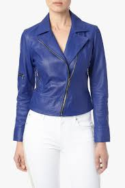leather biker jacket in electric blue blue leather biker jacket by 7 for all mankind