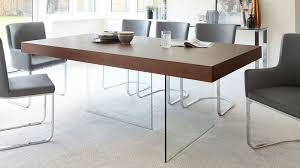modern dark wood dining table glass legs seats 6 to 8 and within tables decorations 13