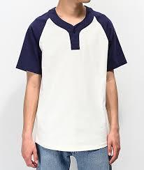 Empyre Change Up Cream Navy Henley T Shirt