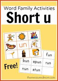 Activities Word Word Family Activities For Short U Final Set Of Short Vowel Read N
