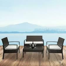 4 pcs rattan patio furniture set