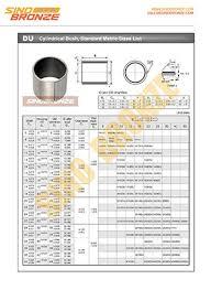 Du Bushing Size Chart Du Bushes Ptfe Lined Steel Backing Self Lubricating Dry