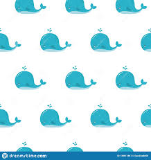 Cute Background With Cartoon Blue Whales Kawaii Animal