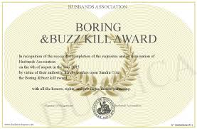 boring buzz kill award