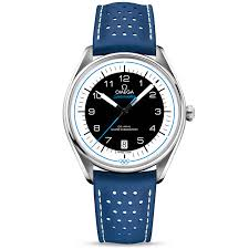 olympic collection black blue dial leather strap watch