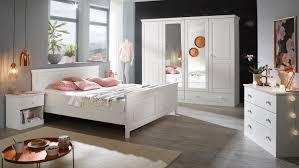 Landhausstil Schlafzimmer Genia 4 Teilig Kiefer Massiv Weiß Gewachst