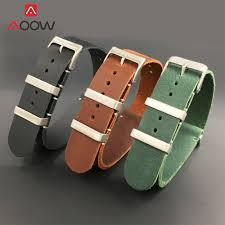 genuine leather nato watchband 18mm 20mm 22mm 24mm stainless steel buckle men zulu replace bracelet strap