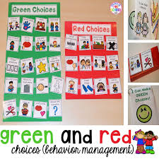 Green And Red Choice Board Pocket Of Preschool