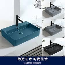Nordic Dark Green Matte Square Countertop Ceramic Wash Basin Bathroom Sink Vessel Sink Single Bowl Black Kitchen Faucet Bathroom Sinks Aliexpress