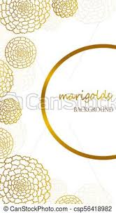 Vector White Flyer With Golden Marigolds And Half Round Frame