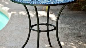 30 inch end table brilliant round metal outdoor bistro patio with hand laid blue inside 28