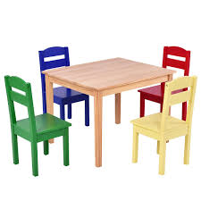 get ations costzon kids wooden table and chairs 5 pieces set includes 4 chairs and 1 activity