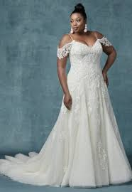 a line cold shoulder sleeves tulle wedding dress by maggie sottero
