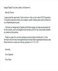 Formal Thank You Letter For A Job Interview Template Word Free
