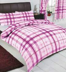 king size lilac red mauve white tartan check striped duvet cover bedding set
