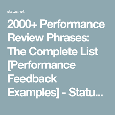 2000 Performance Review Phrases The Complete List