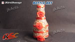 Decorative Things To Put In Glass Jars HOW TO Decorate Glass Bottle With Rice Best Out Of Waste JK 84